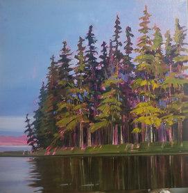 "Soft Light at Jackson Lake 20""x20"" $780.00"