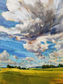 "SOLD Alberta Clouds and Fields Study 16""x12"" $525.00"