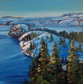 "Winter's Light on Lake Kalmalka 24""x24"" Through the Lloyd Gallery"