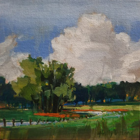 The Bend in the Creek 6x6 canvas panel $110.00