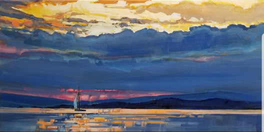 """Evening Sail available through the Lloyd Gallery 12""""x24"""""""