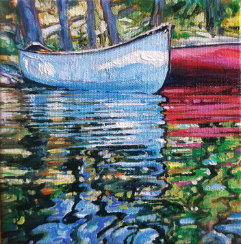 "SOLD Two Canoes 6""x 6"""