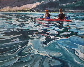 "Kayaking Kalamalka available through the Lloyd Gallery 16""x20"""