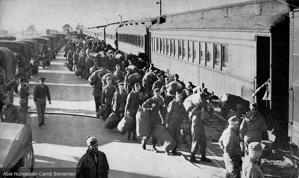 big Abe soldiers embark troop train