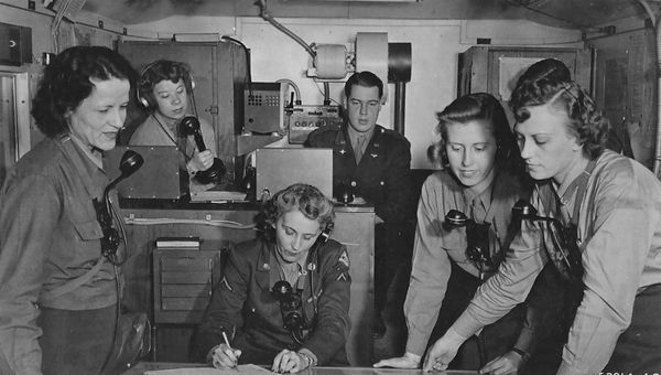 WACs in their mobile control unit75.jpg