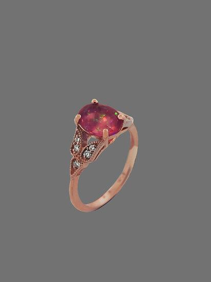 Natural Opal and Diamond Ring