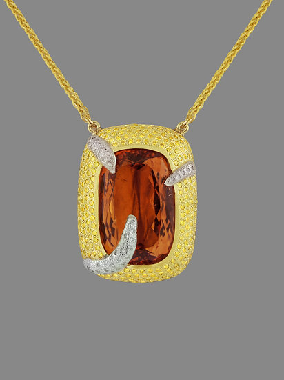 Imperial Topaz and Diamond Pendant