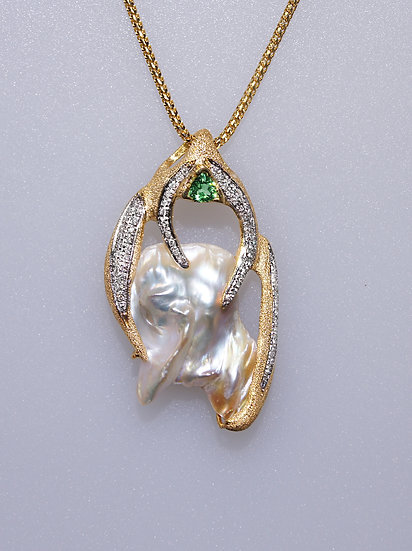 Diamond, Tsavorite Garnet and Pearl Pendant