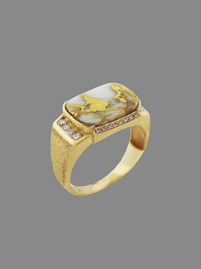 Quartz, Gold and Diamond Ring