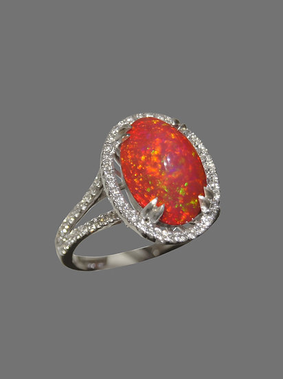 Natural Mexican Fire Opal Ring