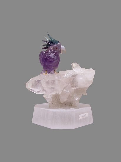 Amethyst Quartz Parakeet on Quartz Crystal