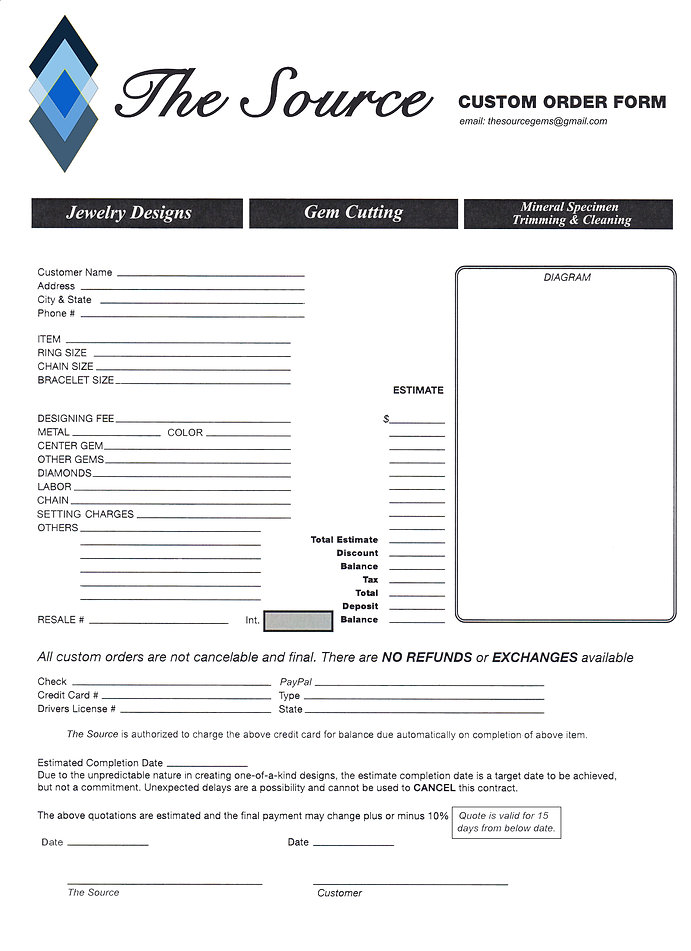 The Source Order Form