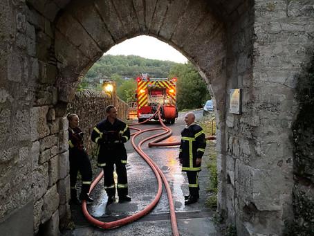 Exercice incendie grandeur nature à Rocamadour