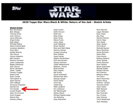 Star Wars: Black & White Return of the jedi - Sketch Cards