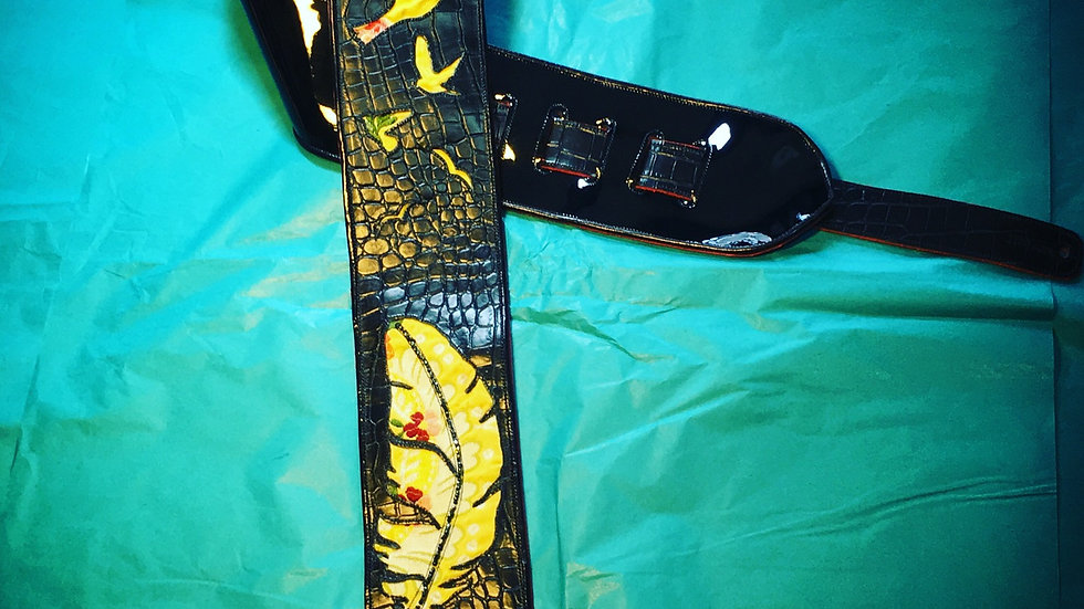 Guitar Strap with Birds and Feather