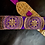Thumbnail: Purple and Gold Fabric with  Gold Crocodile Guitar Strap