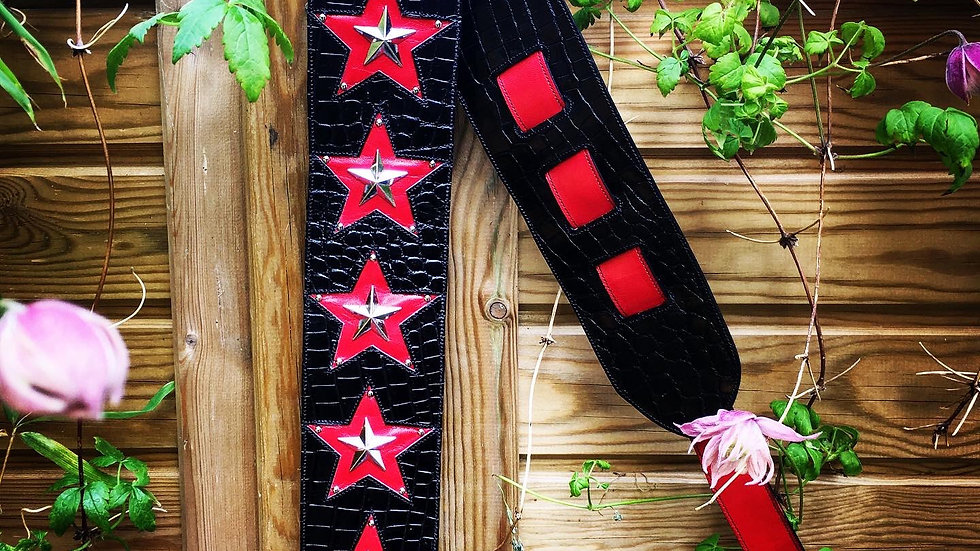 Red and silver Stars Guitar Strap