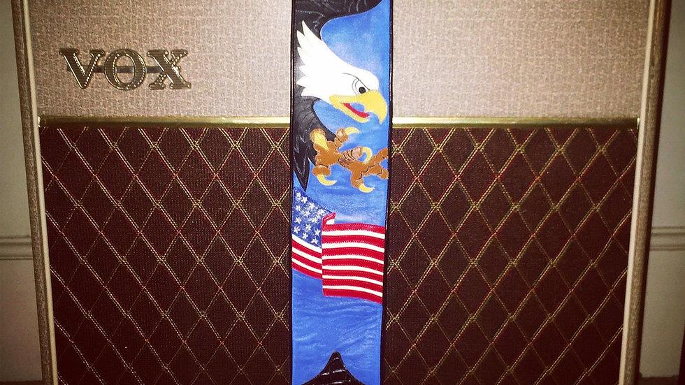 USA flag and Eagle guitar strap