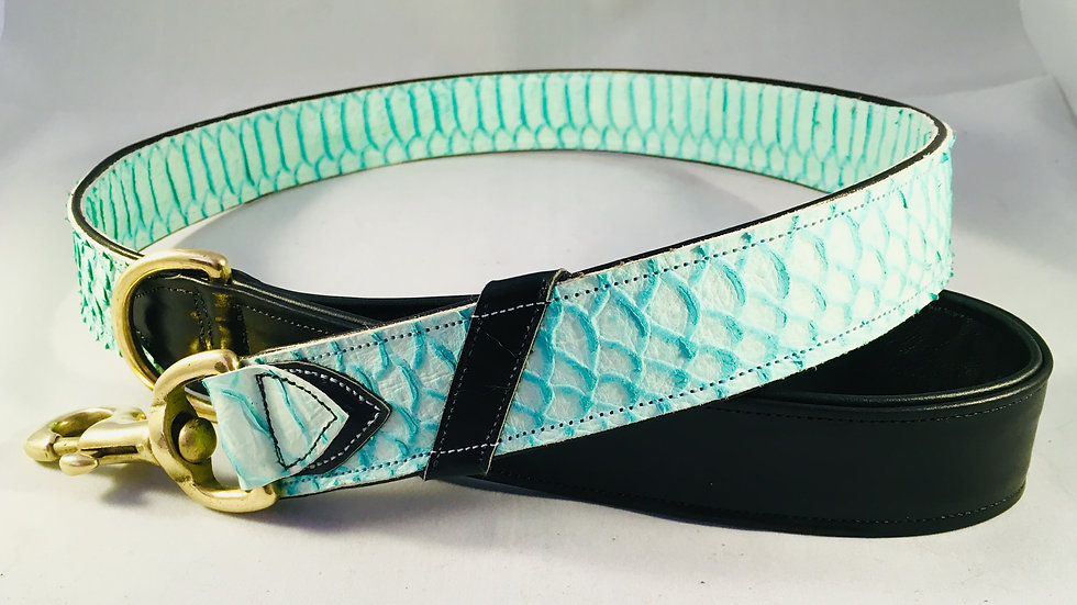 Turquoise leather mock python dog lead