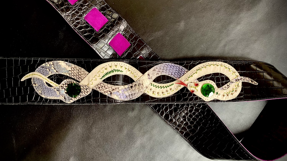 Entwined Snakes Leather Guitar Strap