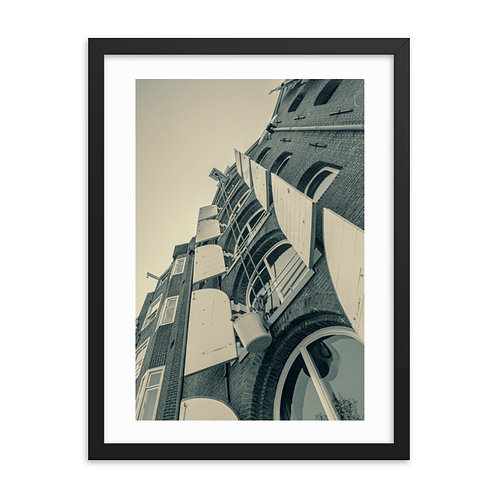 Amsterdam Buildings Framed Poster Black and White  Old Grade Listed