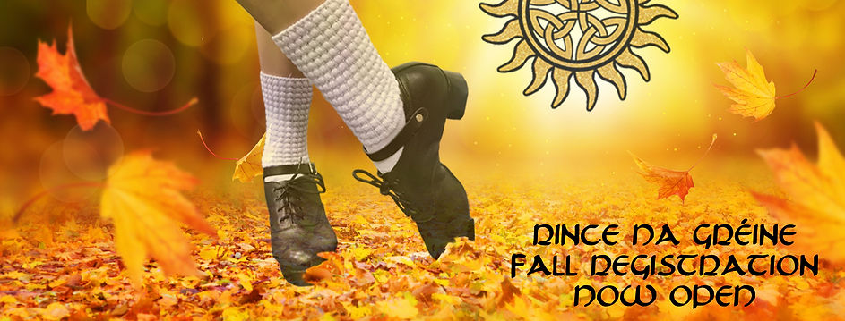 Irish Dancer wearing bubble socks and hard shoes in fall leaves