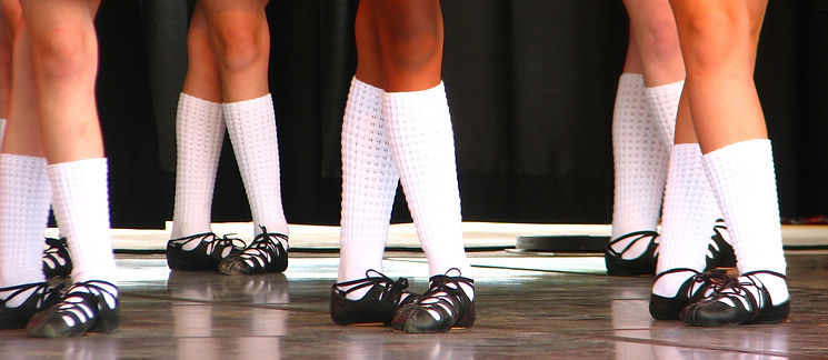 Irish dancers in gillies and bubble socks