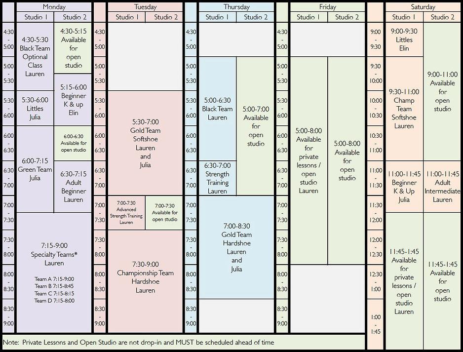 2021 Summer Schedule