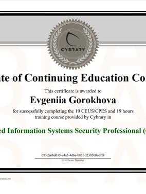 My CISSP Training Course Certificate