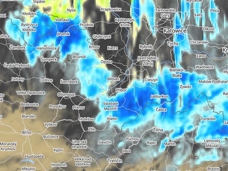 Podmračený víkend doplní zejména v neděli i sněhové vločky