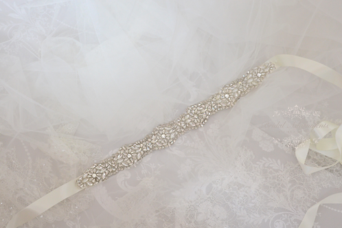 ALICE Vintage Crystal Bridal Sash-BridalSash