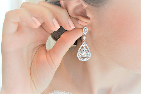 VIVIENNE Vintage Inspired Zirconia Bridal Earrings
