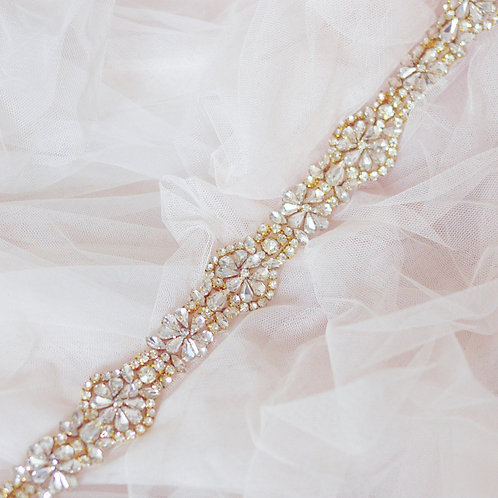 GOLD BELLAMY Slim Crystal Bridal Sash/Belt