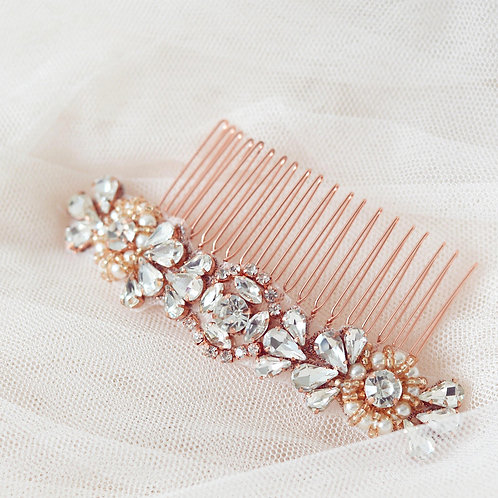 ROSE Rose Gold And Crystal Bridal Hair Comb