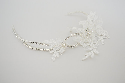 LACY Ivory Lace and Crystal Bridal Headpiece