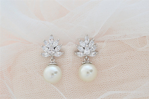 JULIA Vintage Inspired Crystal and Pearl Bridal Earrings