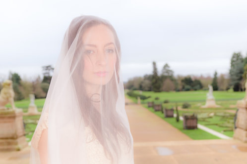 """PENELOPE"" Exquisite Pure Silk Bridal Veil"