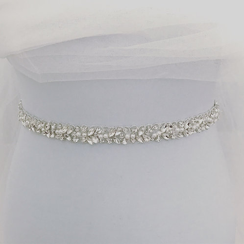 LILY ROSE Slim Pearl and Crystal Bridal Belt