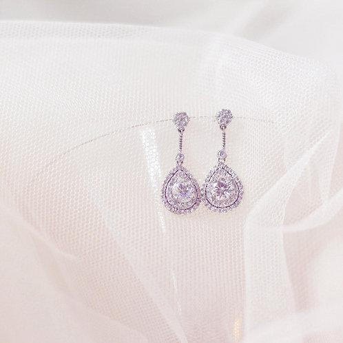 CHLOE Cubic Zirconia Silver Bridal Earrings