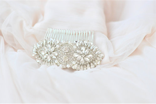 LINDA Vintage Inspired Crystal Bridal Hair comb