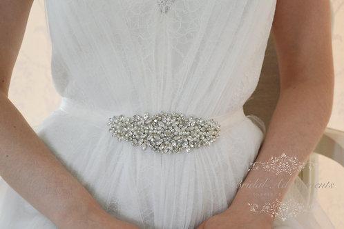 """EVERLY"" Crystal and Pearl Bridal Sash/Belt"