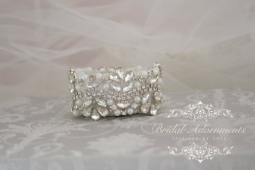 Vintage Inspired Crystal and Pearl Bridal Cuff