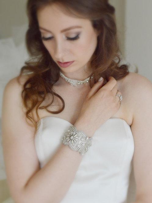 LILLIAN Vintage Inspired Crystal Bridal Cuff/Bracelt