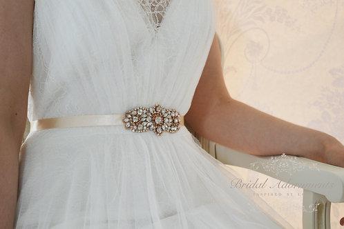 JANESSA Rose Gold Crystal Bridal Sash/Belt