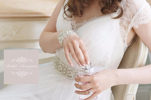 CHLOE Crystal and Pearl Vintage Bridal Sash/Belt