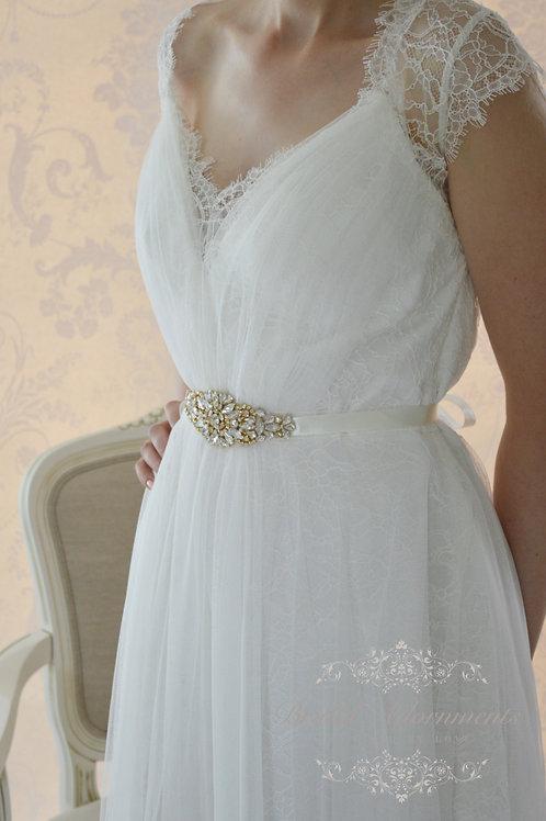 ROSLYN Gold Crystal Bridal Sash/Belt