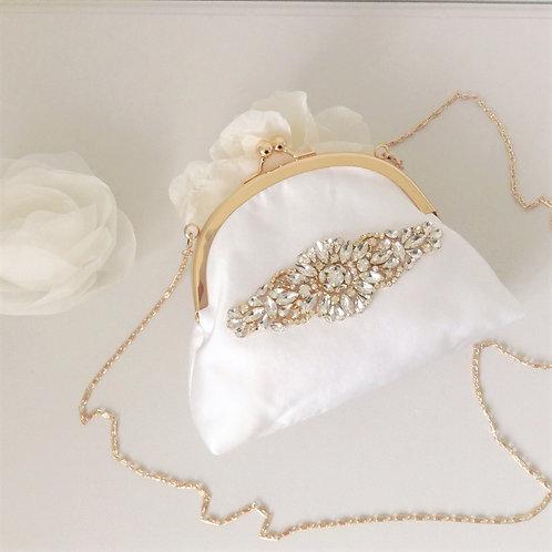 Gorgeous Light Ivory Kiss Lock Bridal Bag