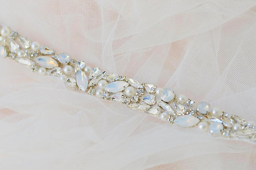 NELLIE Wedding Dress Belt with Clear Crystals, Opals and Pearls