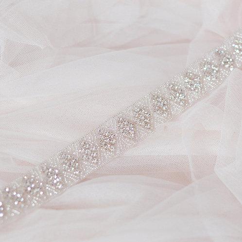 ESME Contemporary Art Deco Inspired Crystal Bridal Sash/Belt