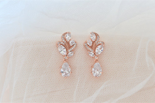 BERNICE Rose Gold Cubic Zirconia Bridal Earrings